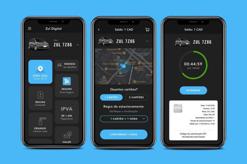 telas do aplicativo para estacionamento de frotas e veículos de empresa Zul Digital corporativo