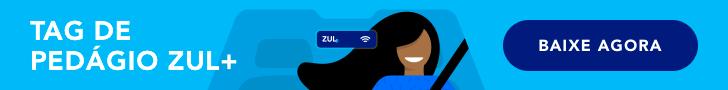 banner Zul+ moça dirigindo carro com tag de pedagio