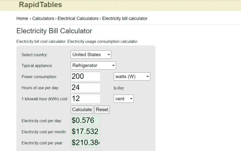 screenshot del calcolatore del costo dell'elettricità di rapidtables