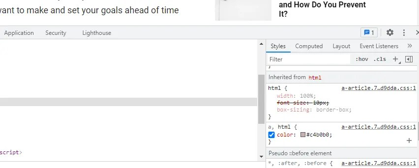screenshot of Styles tab in inspect element