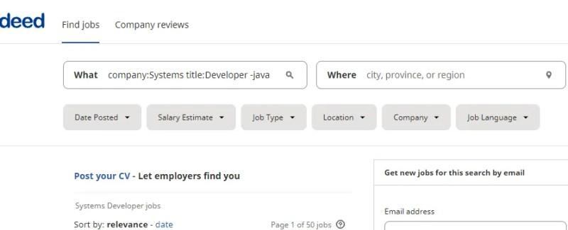 Действительно поиск работы с операторами