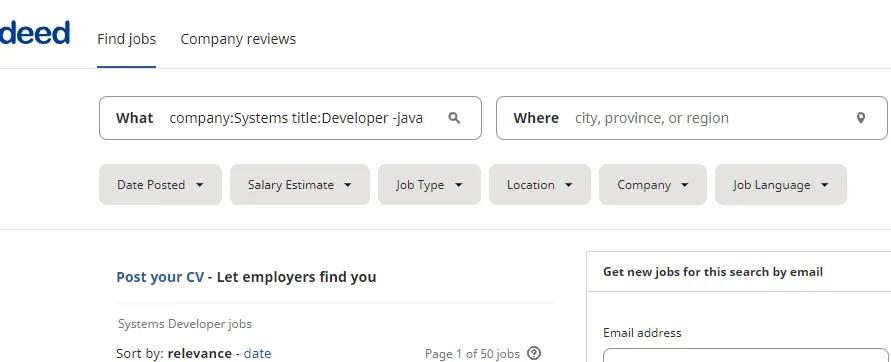 वास्तव में ऑपरेटरों के साथ नौकरी की तलाश