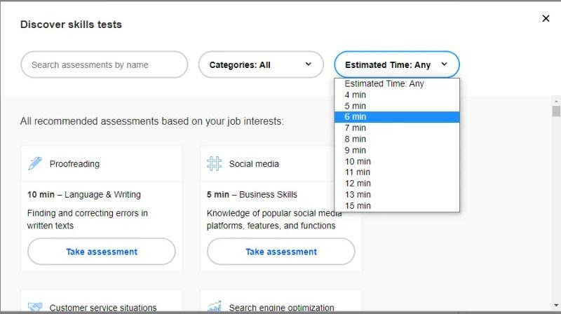 Скриншот страницы оценки навыков на сайте Indeed
