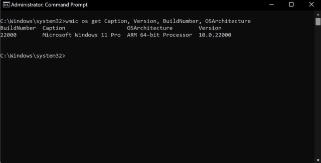 specific windows details on command prompt