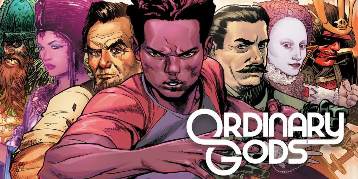 The cover of Ordinary Gods has the main character Christopher front in center, followed by historical figures who look Queen Elizabeth, Abraham Lincoln, Stalin, and some unfamiliars.