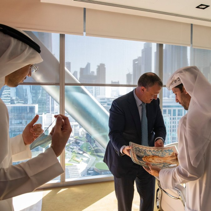 Mr. Margalit meeting withArif Amiri, the chief executive of a Dubai trade hub.