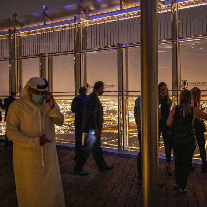 Looking at the skyline from the Burj Khalifa.