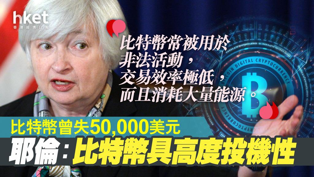 【Bitcoin】比特幣一度跌17%失守5萬美元關 耶倫:比特幣具高度投機性