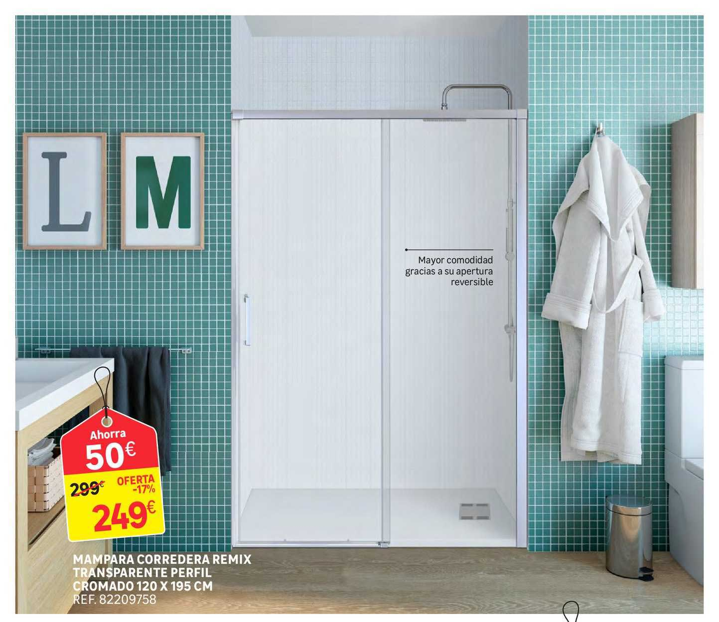 Oferta Mampara Corredera Remix Transparente Perfil Cromado 120x195 Cm En Leroy Merlin