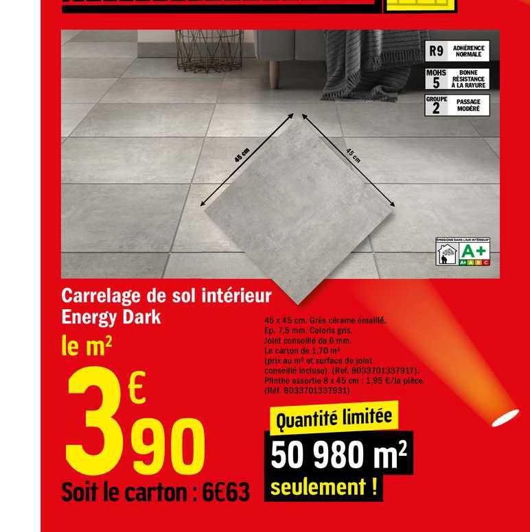 Offre Carrelage De Sol Interieur Energy Dark Chez Brico Depot
