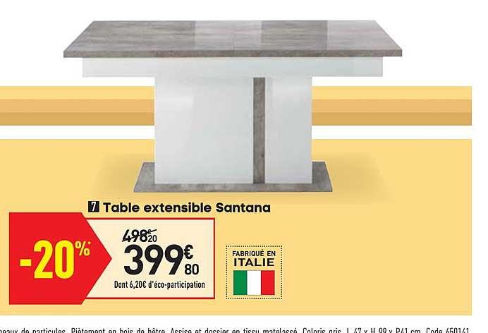 table extensible santana chez conforama