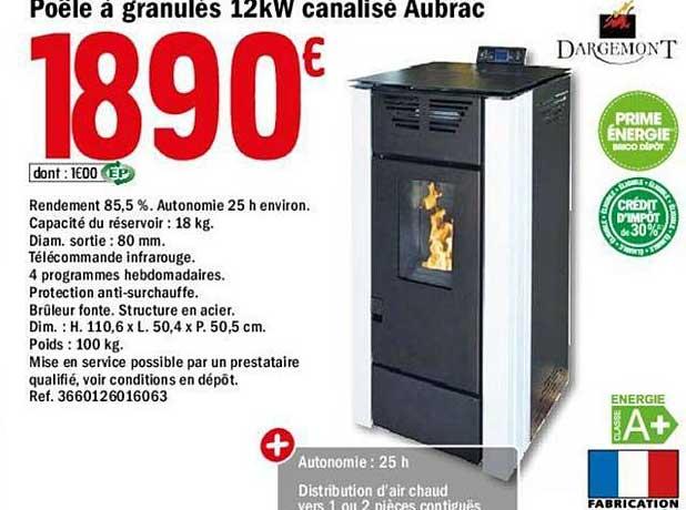 Offre Poele A Granules 12kg Canalise Aubrac Chez Brico Depot