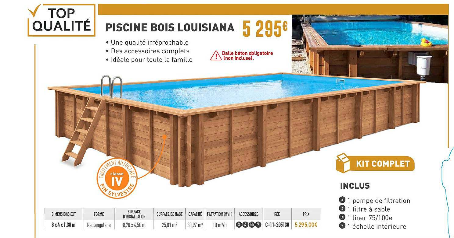piscine bois louisiana chez cash piscines