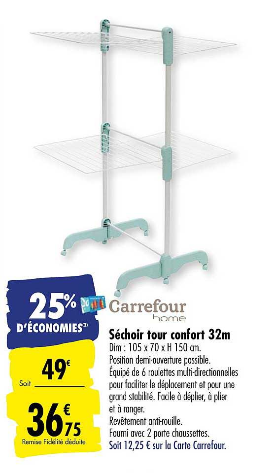 Offre Sechoir Tour Confort 32m Carrefour Home Chez Carrefour