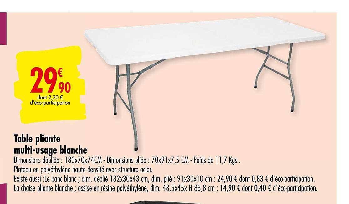 offre table pliante multi usage blanche