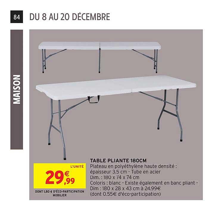 table pliante 180 cm chez intermarche hyper