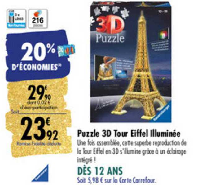 offre puzzle 3d tour eiffel illuminee