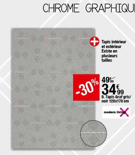 tapis graf gris noir 120x170 cm chez but