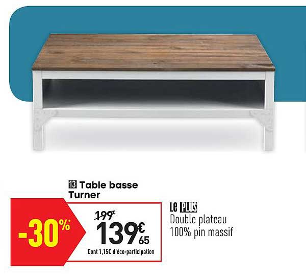 offre table basse turner chez conforama