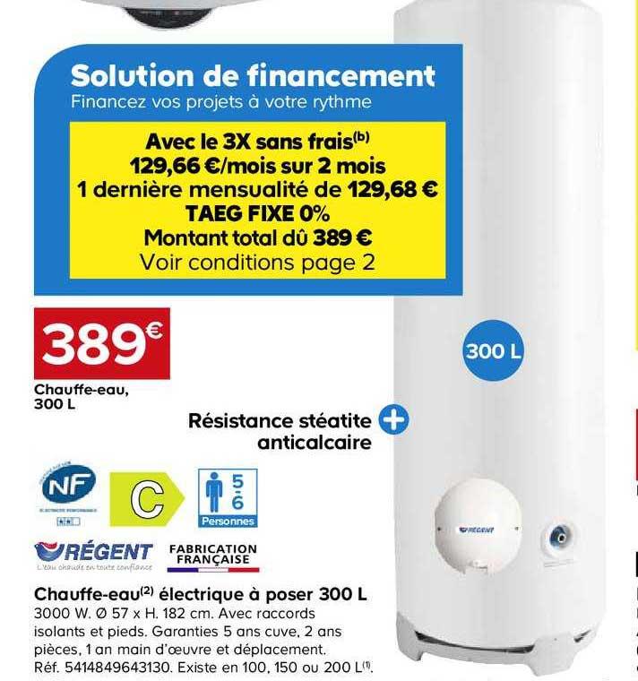 Offre Chauffe Eau Electrique A Poser 300 L Regent Chez Castorama