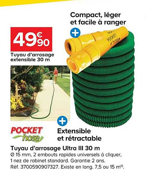 arrosage ultra lll 30 m pocket hose