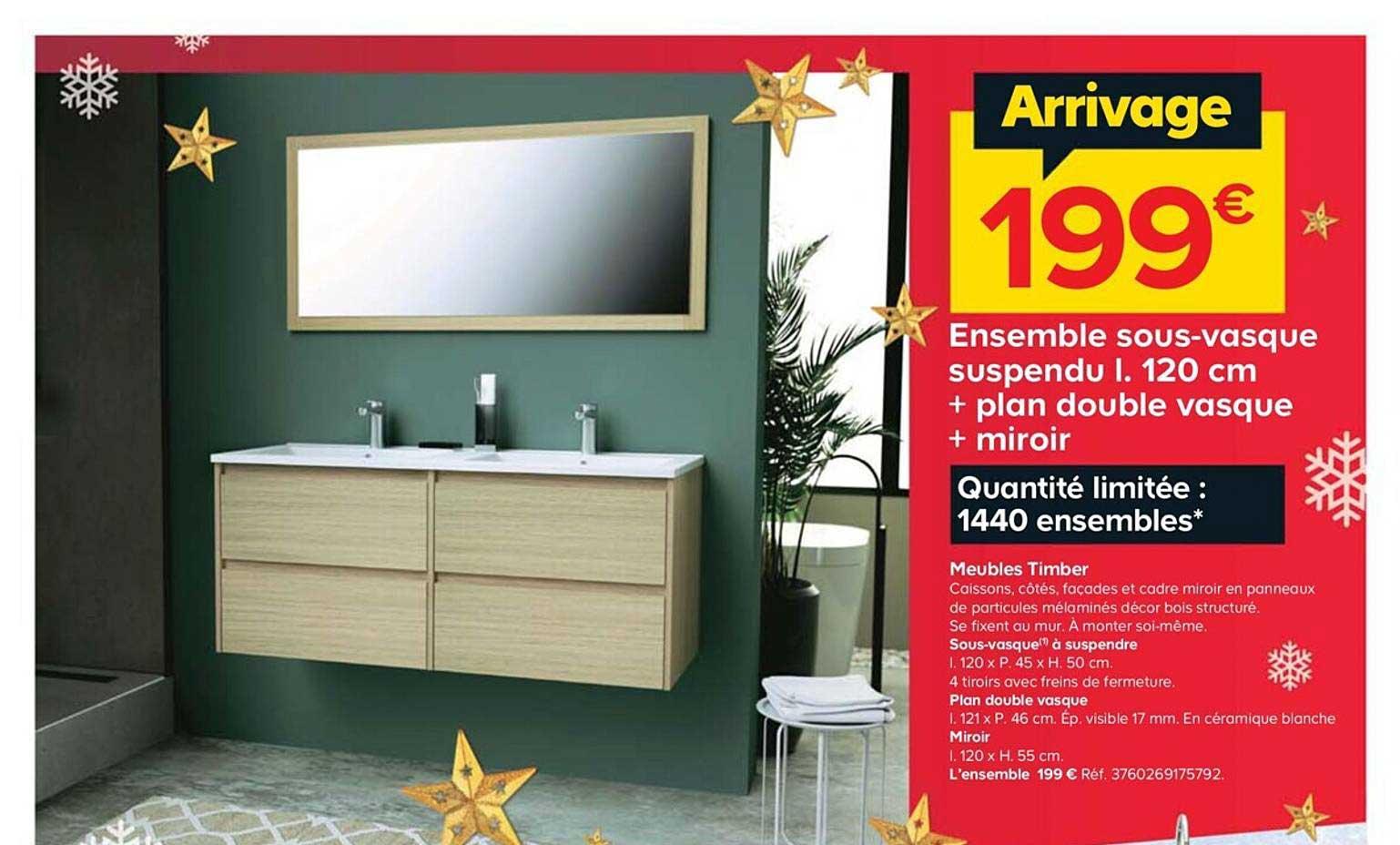 Offre Ensemble Sous Vasque Suspendu I 120 Cm Plan Double Vasque Miroir Chez Castorama