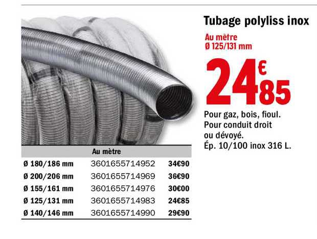offre tubage polyliss inox chez brico depot