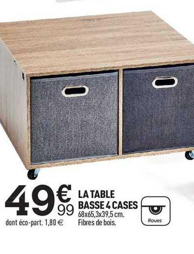 offre la table basse 4 cases chez centrakor