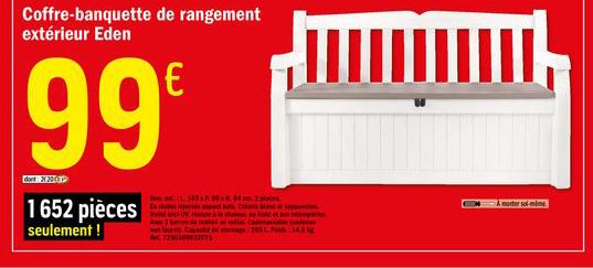Offre Coffre Banquette De Rangement Exterieur Eden Chez Brico Depot