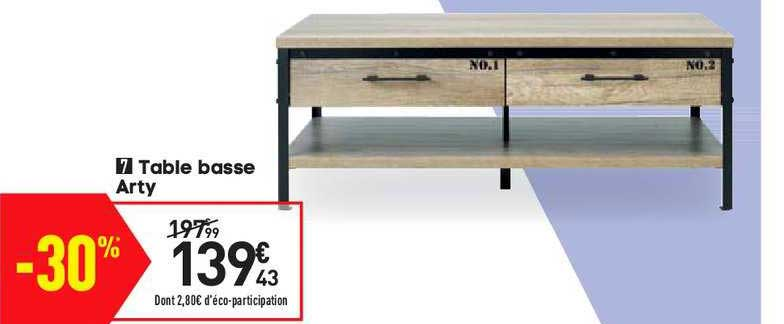 offre table basse arty chez conforama