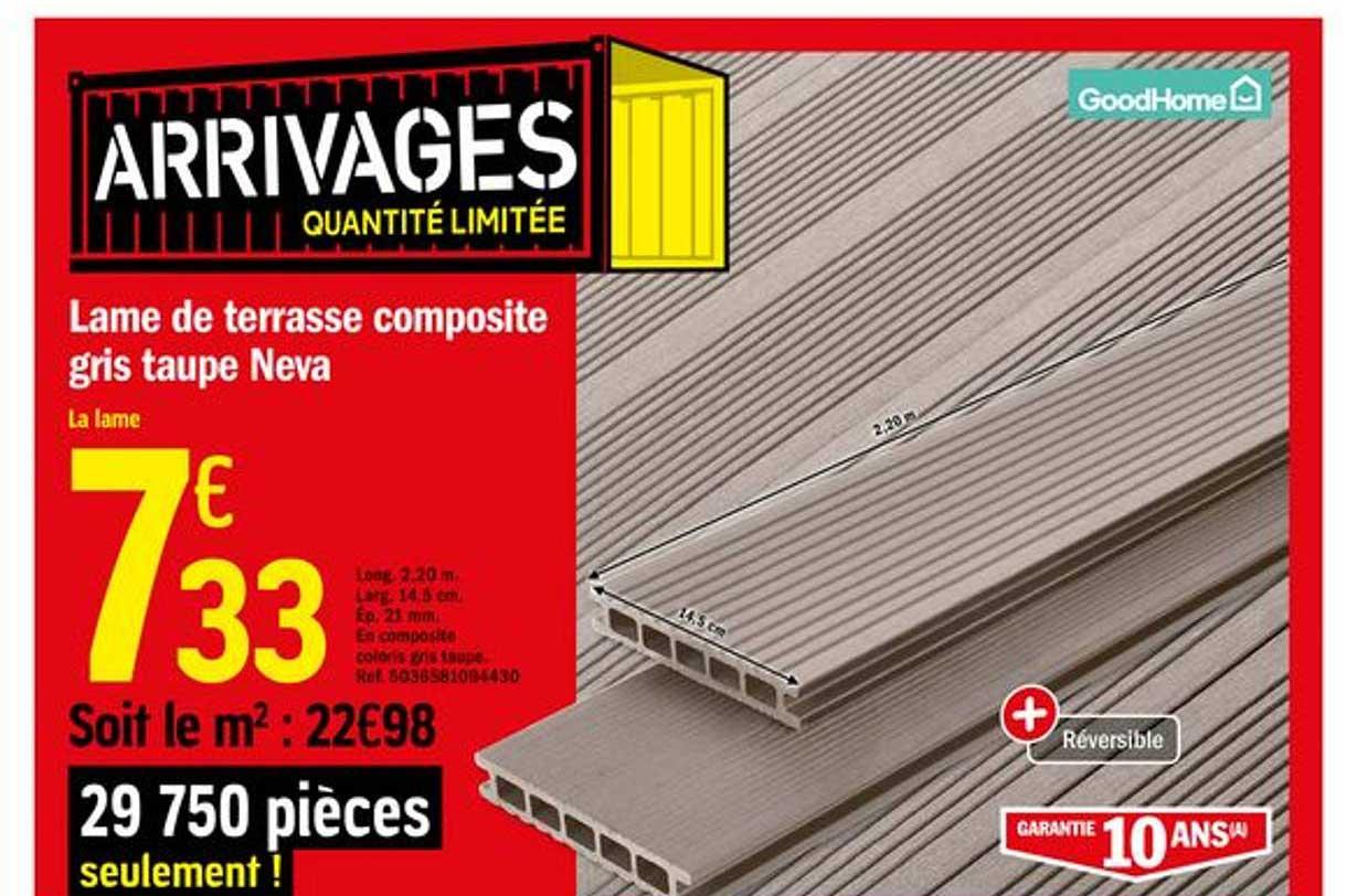 Offre Lame De Terrasse Composite Gris Taupe Neva Goodhome Chez Brico Depot
