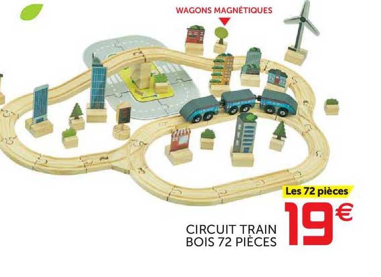 offre circuit train bois 72 pieces chez