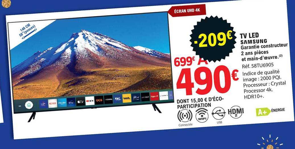 offre tv led 146 cm samsung chez e leclerc