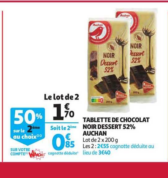 offre tablette de chocolat noir dessert