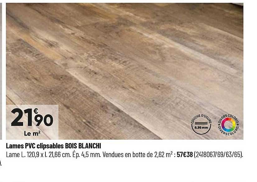 offre lames pvc clipsables bois blanchi