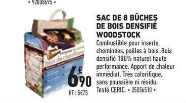 Offre Sac De 8 Buches De Bois Densifie Woodstock Chez Brico Cash