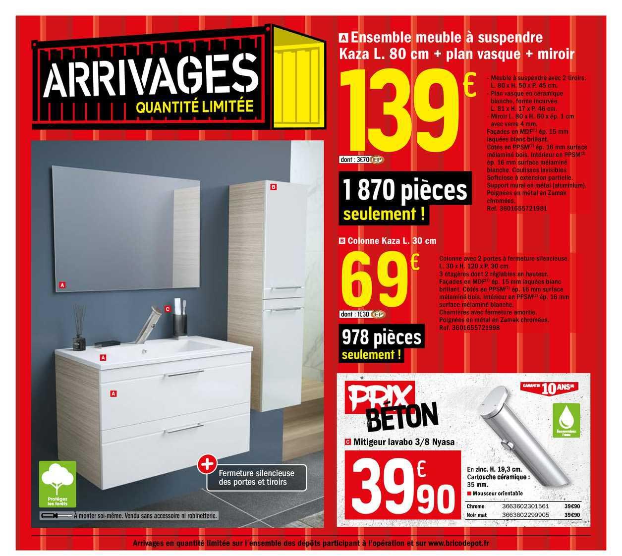 Offre Ensemble Meuble A Suspendre Kaza L 80 Cm Plan Vasque Miroir Chez Brico Depot