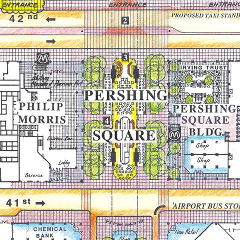 This 1987 plan envisioned landscaping on both the east and west sides of the Park Avenue viaduct at Pershing Square. For now, only the west side will become a plaza.