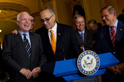Image result for picture Schumer patting McCain on back