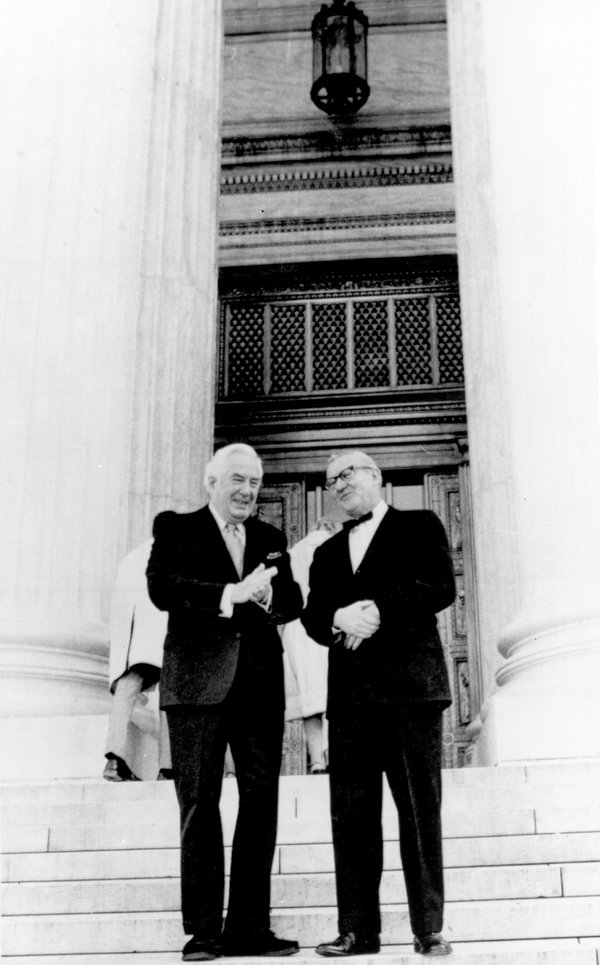 John Paul Stevens, right, and Chief Justice Warren E. Burger on the steps of the Supreme Court before Justice Stevens was sworn in. He was nominated by President Gerald Ford after Justice William O. Douglas retired.