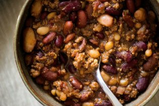 This chili is an amalgam of recipes, with chocolate and coffee added for complexity and hot sauce for kick.