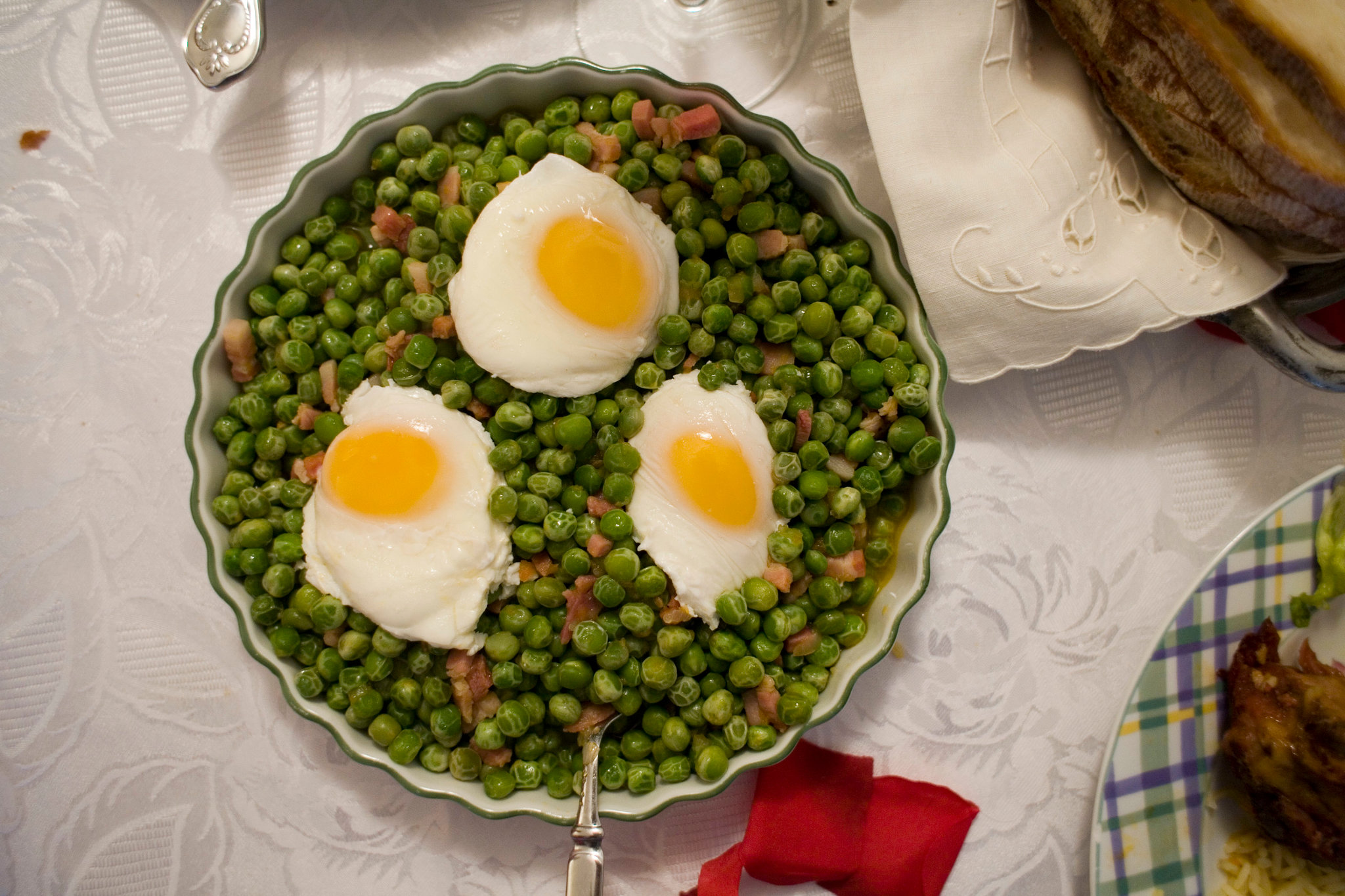 Peas With Poached Eggs Recipe Nyt Cooking