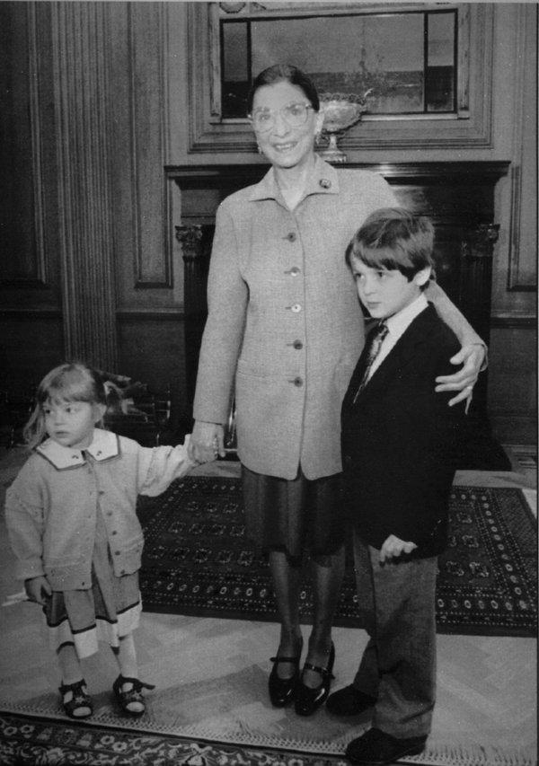 Ms. Ginsburg in 1993 with her grandchildren Clara Spera and Paul Spera.
