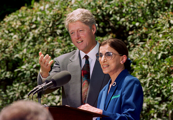 President Bill Clinton with Justice Ginsburg in 1993, when he nominated her to the Supreme Court.