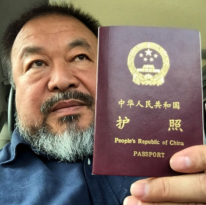 Ai Weiwei posted this picture on Instagram on Wednesday after the Chinese authorities returned his passport. CreditAi Weiwei