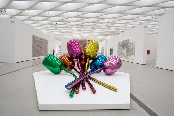 """""""Tulips"""" by Jeff Koons, a favorite artist of the philanthropists Eli and Edythe Broad, is among the works included in their museum's inaugural display."""