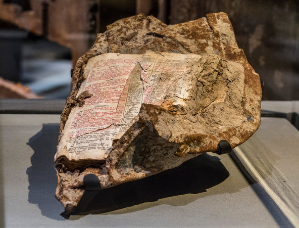 At 9 11 Memorial  an Enduring Message of Forgiveness   The New York     Biblical text from the Gospel of Matthew were found fused to metal in the  wreckage at
