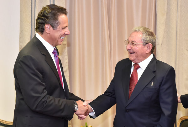 Gov. Andrew M. Cuomo of New York in a meeting with President Raúl Castro of Cuba at the United Nations on Friday.