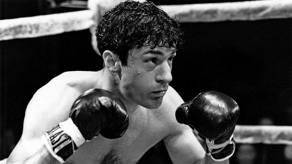 Image of the black and white movie  'Raging Bull' 1980