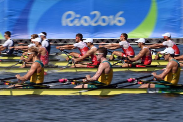 Rowers in the men's quadruple sculls closed onto the finish line in Rio de Janeiro at the 2016 Olympic Games.